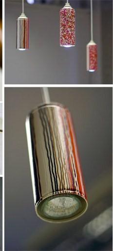 Lampara casera con latas de spray