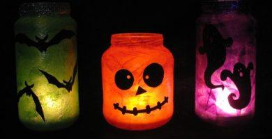 Lámparas caseras de Halloween con frascos de vidrio lista de materiales: