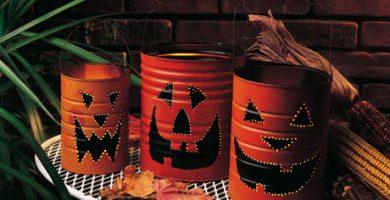 Lámparas de Halloween con latas